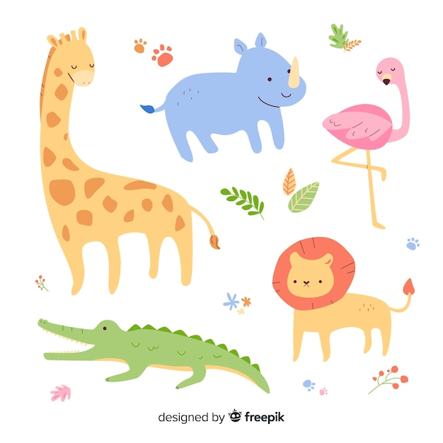 Draw with wild animal collection Free Vector