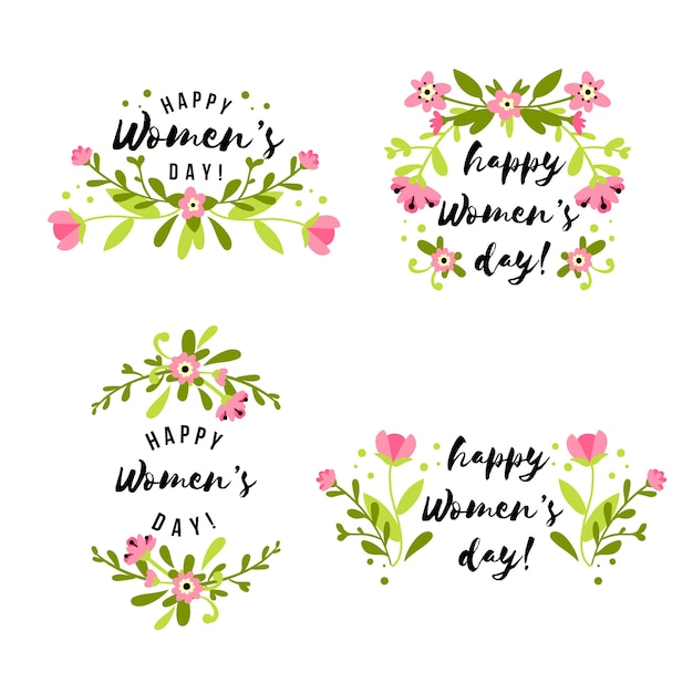 Draw with womens day badge collection Free Vector