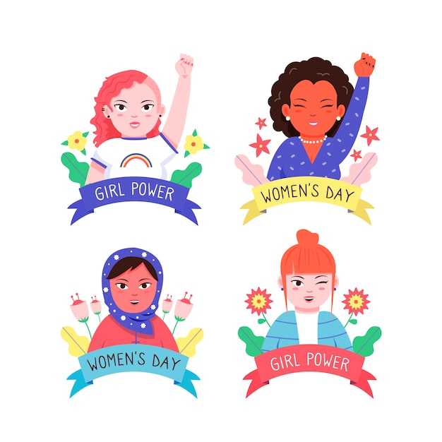 Draw of womens day label collection theme Free Vector