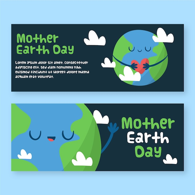 Drawign of mother earth day banner Free Vector