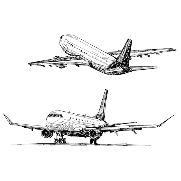 Drawing Of The Airplane Landing At The Airport Premium Vector