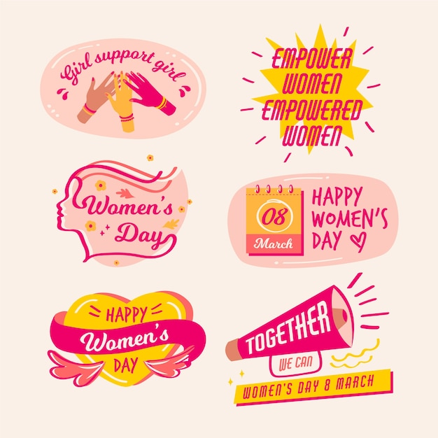 Drawing badge collection with women day Free Vector