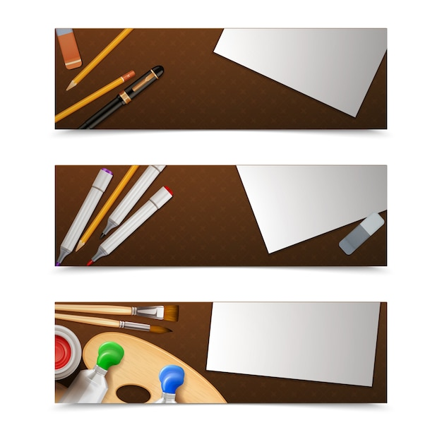 Drawing banners horizontal set Free Vector