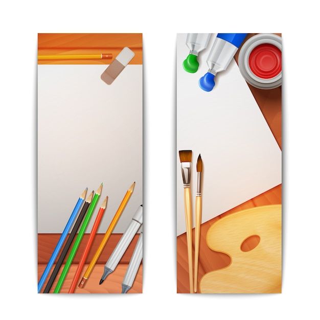 Drawing banners vertical set Free Vector