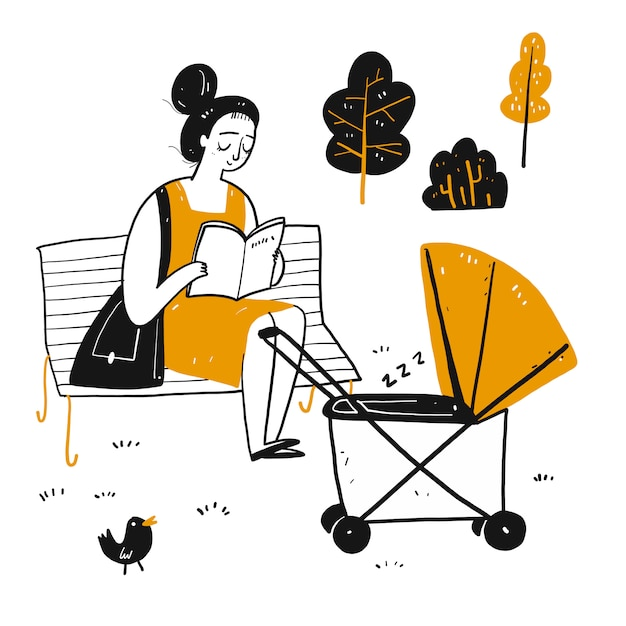 The Drawing Character A Novice Mother Is Reading On The Park Bench