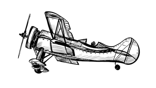 Drawing of the classic plane hand draw Premium Vector