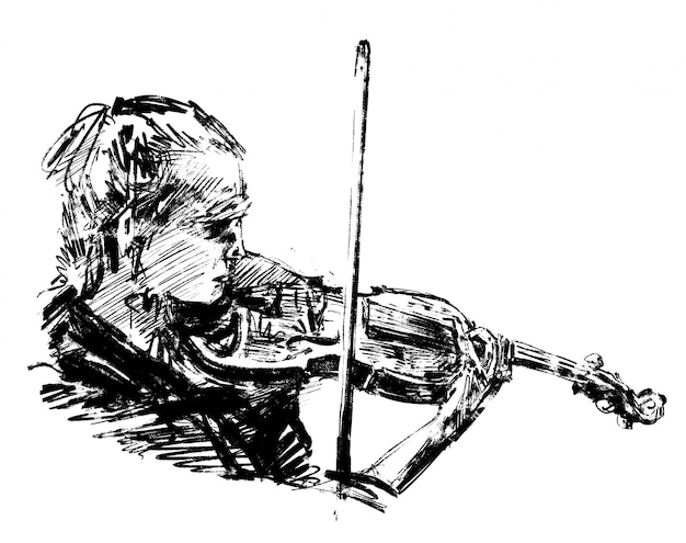 Drawing of the classical musician plays violin hand draw Premium Vector