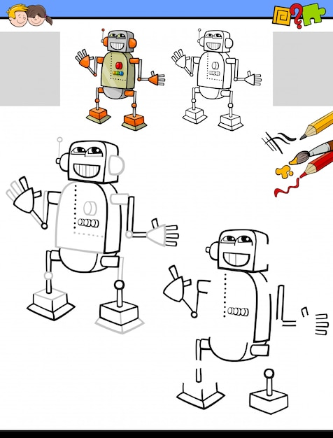 Drawing and coloring educational activity with robot Premium Vector