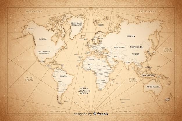 빈티지 세계지도에 대한 개념을 그리기 무료 벡터