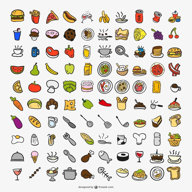 Drawing cooking color icons Free Vector