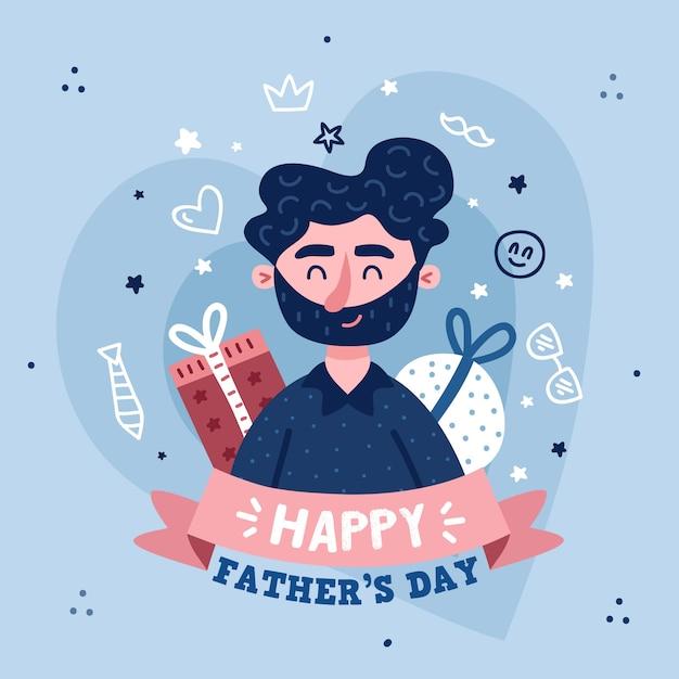 Festa del papà di disegno Vettore gratuito