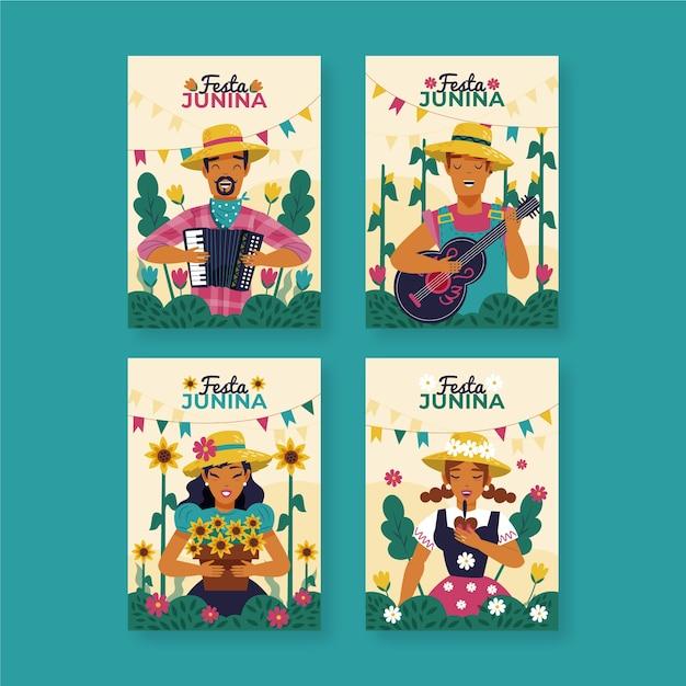 Drawing festa junina card collection concept Free Vector