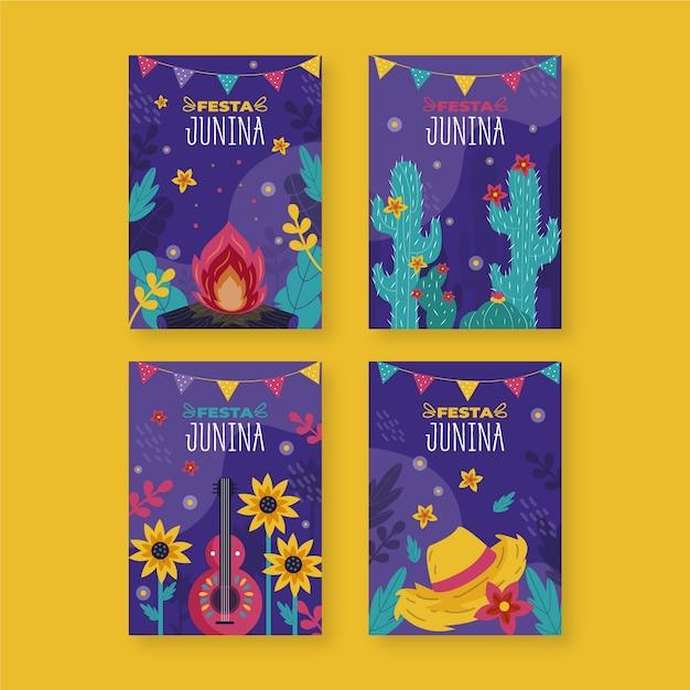 Drawing festa junina card collection Free Vector