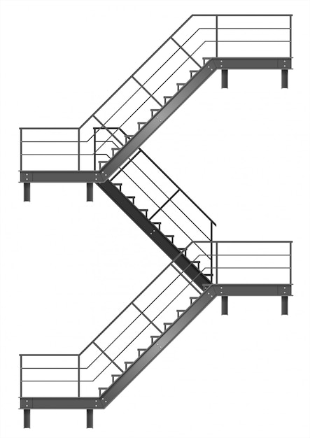 Drawing of the fire escape for the facade Premium Vector