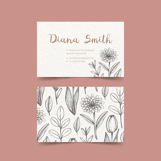 Drawing of floral business card template Free Vector