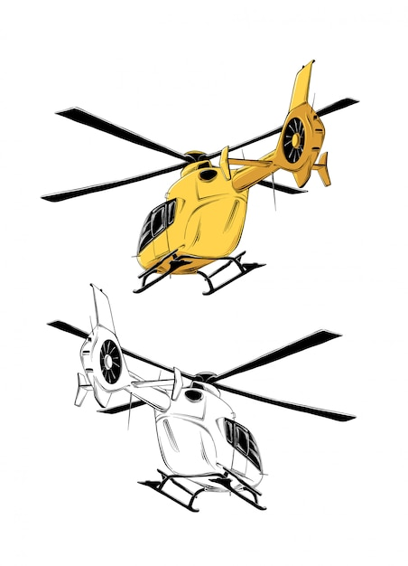 drawing helicopter yellow color isolated drawing posters decoration print 73