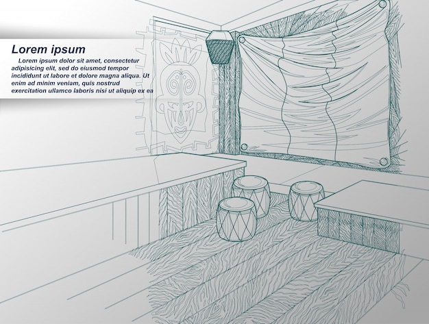 Drawing of interior. Premium Vector