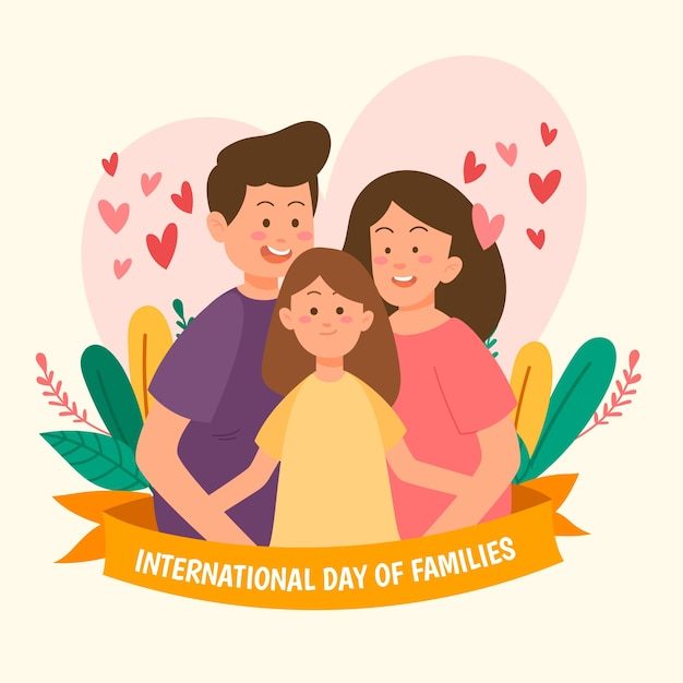 Drawing international day of families design Free Vector