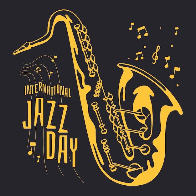 Рисование международного джазового дня Бесплатные векторы