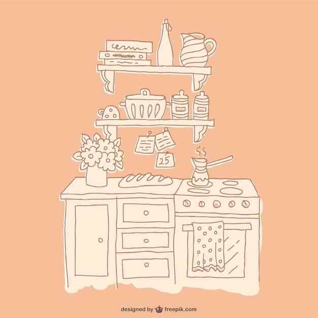 Drawing kitchen furniture vector free download for Furniture drawing software free