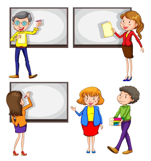 A drawing of the male and female teachers on a white background Free Vector