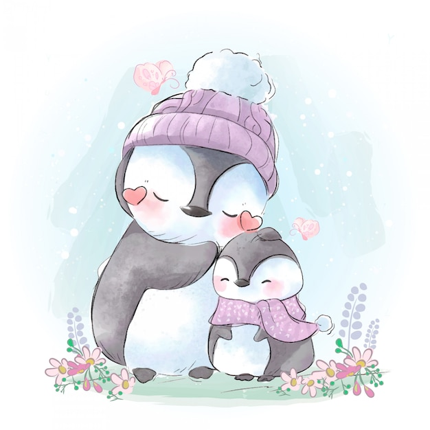 Drawing of the mother and son of a connected penguin in the cold weather of the winter coming. Premium Vector
