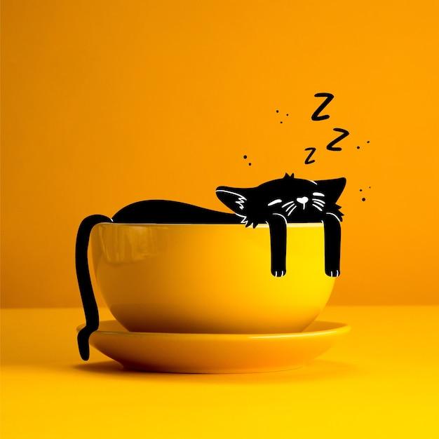 Рисунок кота, спящего в чашке Бесплатные векторы