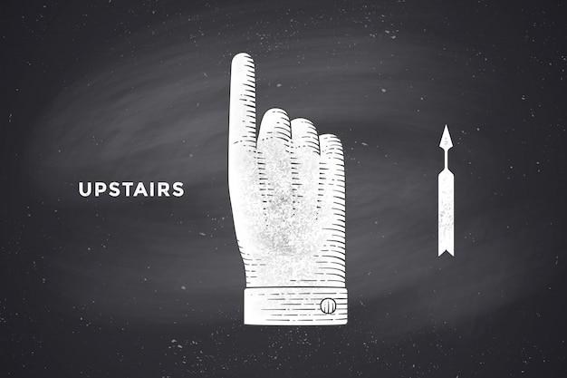 彫刻スタイルで親指で手のサインの図面 Premiumベクター