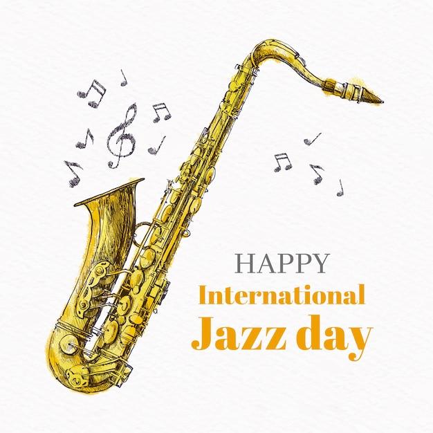 Рисунок концепции международного джазового дня Бесплатные векторы