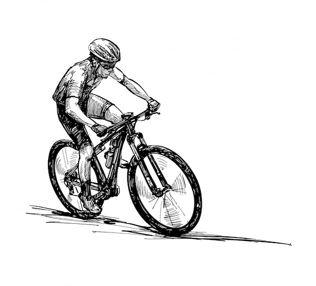 Рисунок соревнований по горным велосипедам Premium векторы