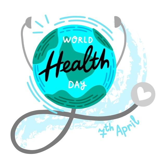 世界保健デーの概念図 無料ベクター