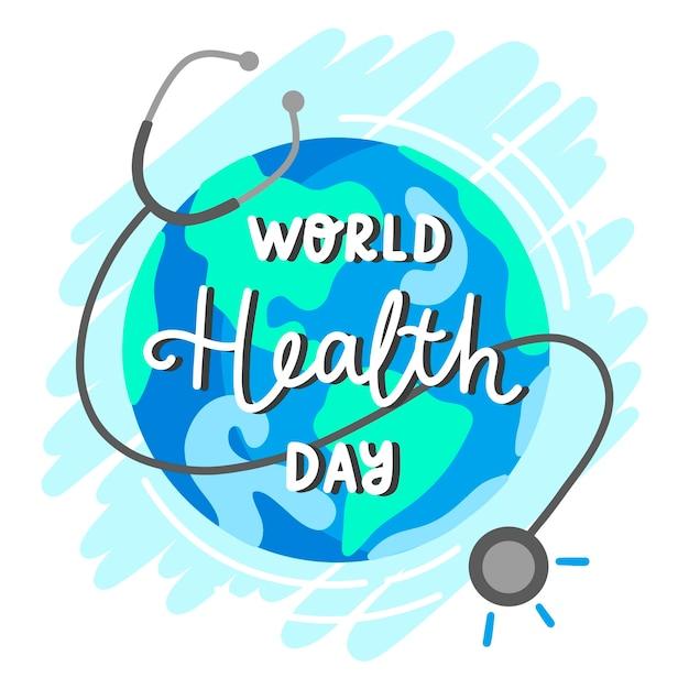 世界保健デーのテーマの描画 無料ベクター