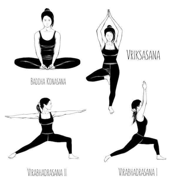 Рисунок набора позы йоги, изолированные на белом Premium векторы