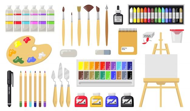 Set di strumenti di disegno e pittura Vettore gratuito