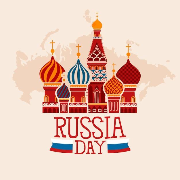 ロシアの日を描く 無料ベクター