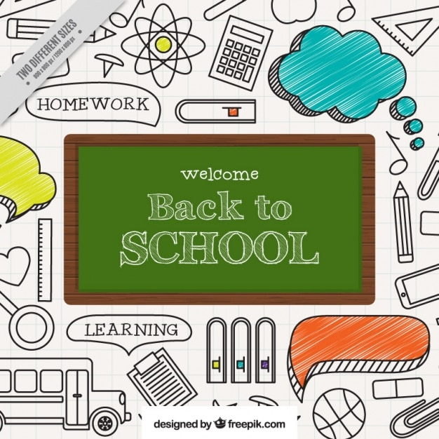 Drawing of school items with blackboard on a notebook Free Vector