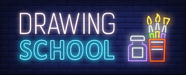 Drawing school neon text with brushes set and bottle Free Vector