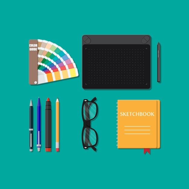 Инструменты для рисования изолированные, оборудование для дизайнера, Premium векторы