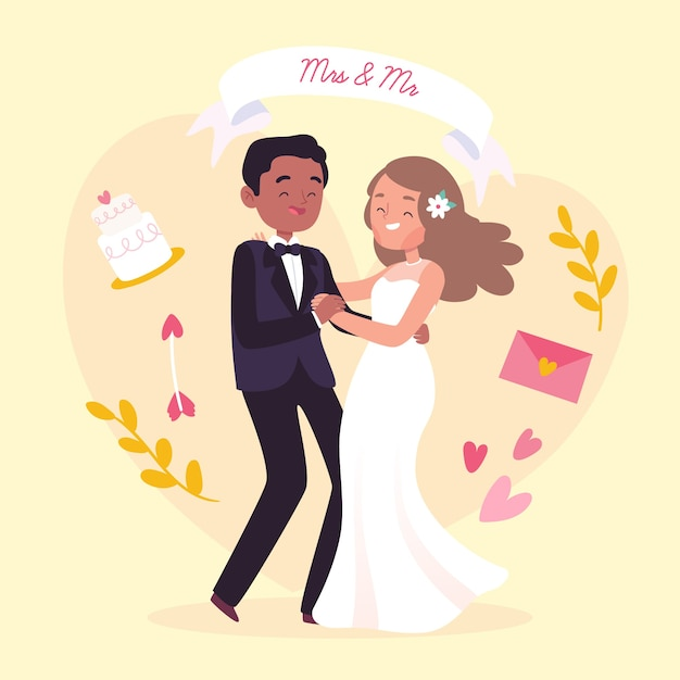 Free Vector Drawing Of Wedding Couple Illustration
