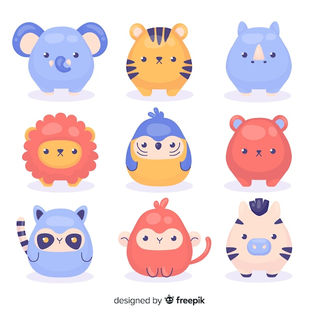 Drawing with cartoon animal collection Free Vector