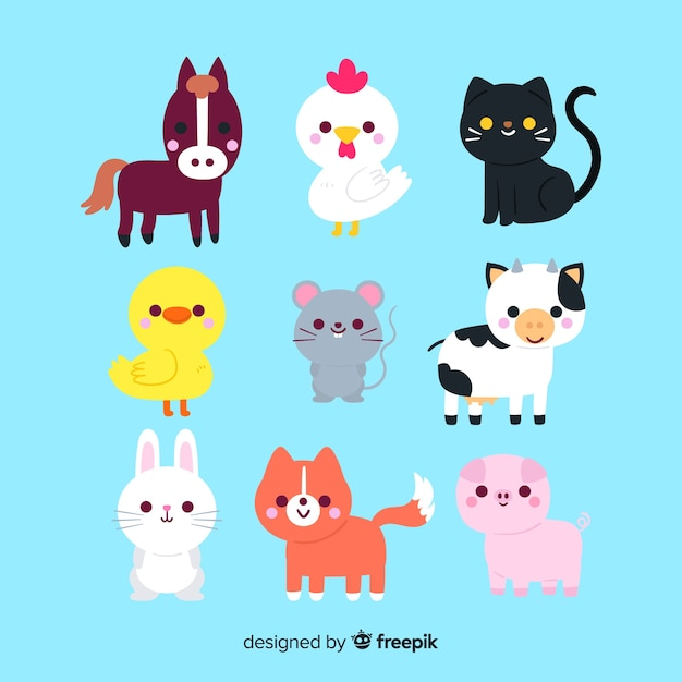 Drawing with cute animal collection Free Vector