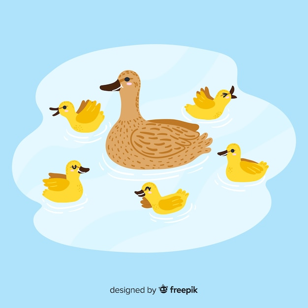 Drawing with duck and ducklings design Free Vector