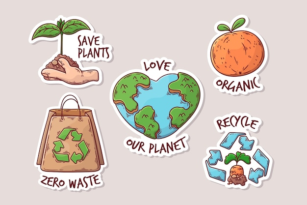 Drawing with ecology badges concept Free Vector