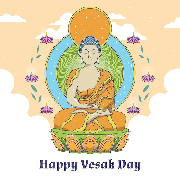 Drawing with happy vesak day concept Free Vector