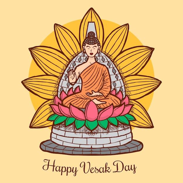 Disegnando con il felice giorno di vesak Vettore gratuito