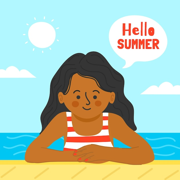Disegnando con il concetto di estate di ciao Vettore gratuito