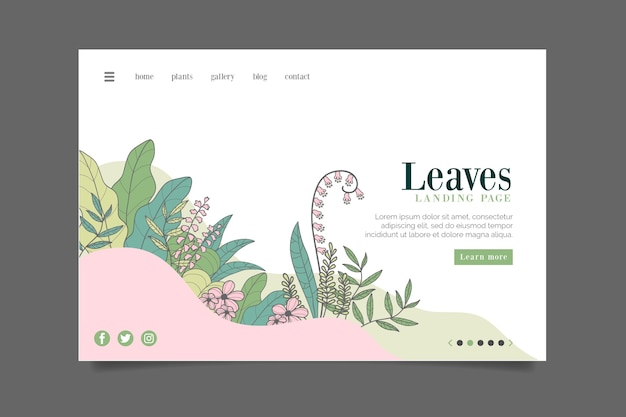 Drawing with nature landing page Free Vector