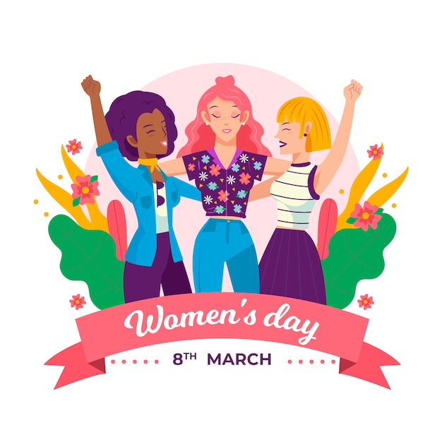 Drawing with womens day event Free Vector