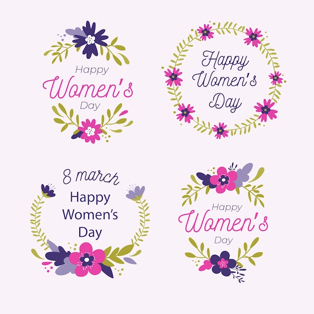 Drawing with womens day label collection Free Vector