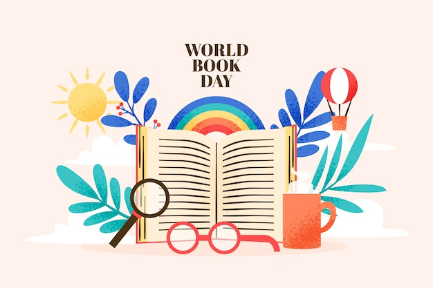 世界の本の日デザインで描く 無料ベクター